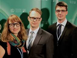 With fellow PhD researchers Jonas Bruun and Lauren Gifford at COP 19 in Warsaw.